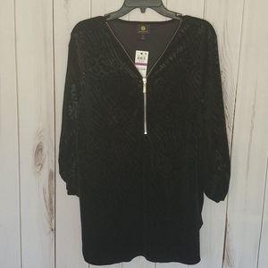 NWT JM Collection Black Animal Print Zipper Shirt